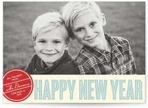 Retro Peace New Year Photo Cards
