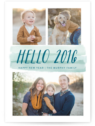 Ombre Watercolor New Year's Photo Cards