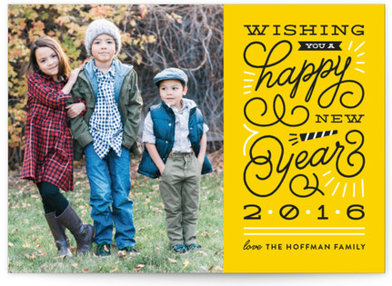 Swirls and Bursts New Year's Photo Cards