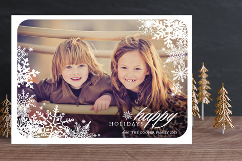 Snowflake Window New Year Photo Cards