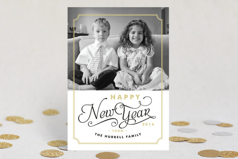 Simple Frame New Year Photo Cards