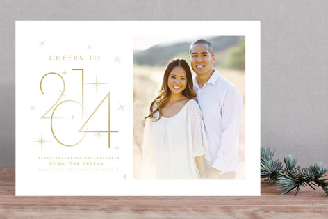 Elegant And Sparkly New Year Photo Cards