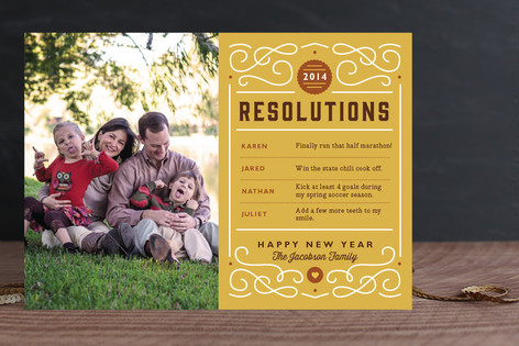 Our New Year's Resolutions New Year Photo Cards