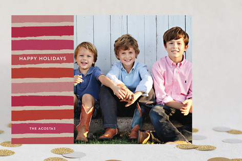 Festive Stripes New Year Photo Cards