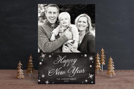 Festive Chalkboard New Year Photo Cards