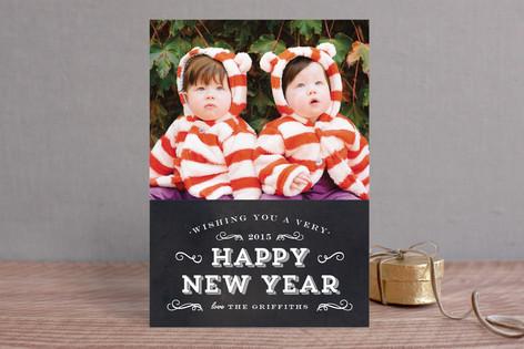 Chalkboard Flourish New Year Photo Cards