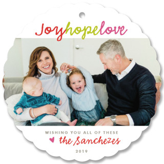 Joy Hope Love Holiday Ornament Cards