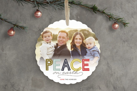 Modern Headline Holiday Ornament Cards