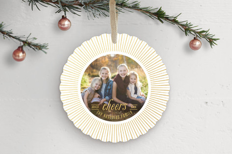 Gilded Starburst Holiday Ornament Cards