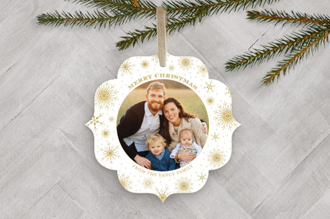 Gilded Snow Holiday Ornament Cards