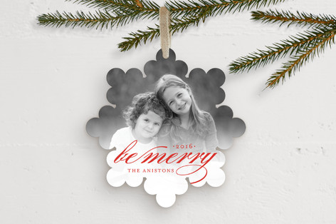 Merry Flake Holiday Ornament Cards