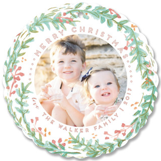 Delicate Wreath Holiday Ornament Cards