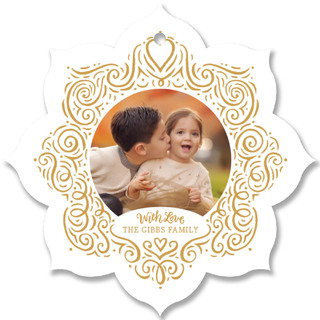 Swirling Filigree Snowflake Holiday Ornament Cards