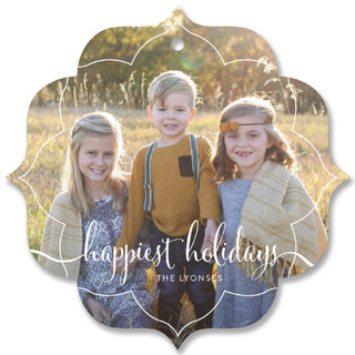 Happiest Holidays Script Holiday Ornament Cards