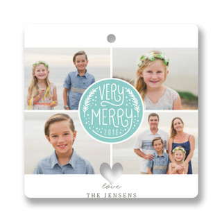 Very Merry Quads Holiday Ornament Cards