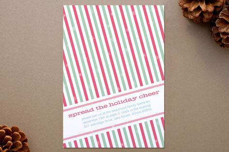 Holiday Stripes Holiday Party Invitations