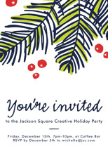 Modern Pine Holiday Party Invitations