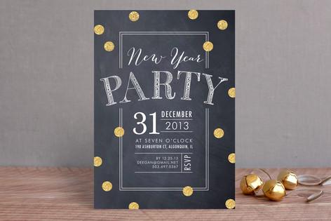 Confetti Blackboard Holiday Party Invitations