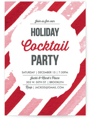 Candy Cane Watercolor Stripes Holiday Party Invitations