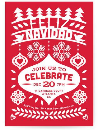 Feliz Navidad Fiesta Banner Holiday Party Invitations