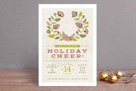 Cheerful Wreath Holiday Party Invitations