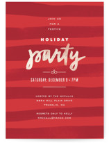 Painterly Stripes Holiday Party Invitations