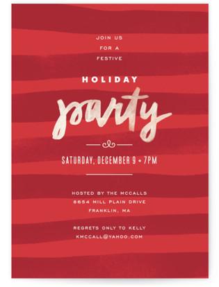 Painterly Stripes Holiday Party Invitations