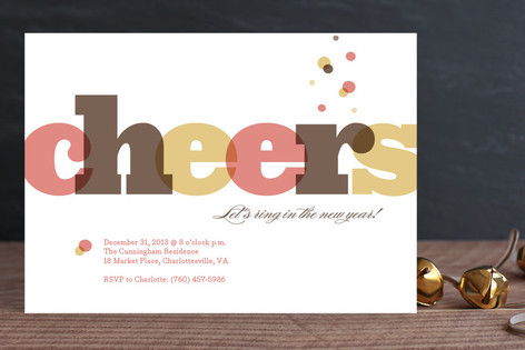 Bubbly Cheers Holiday Party Invitations