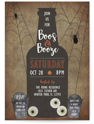 Boos and Booze Holiday Party Invitations