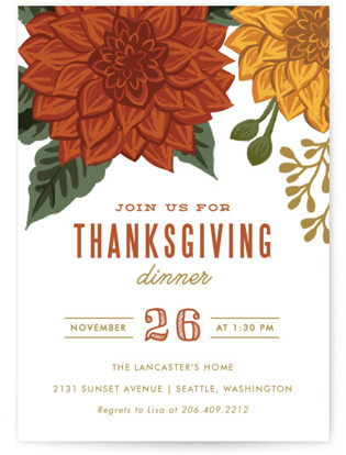 Autumn Blooms Holiday Party Invitations