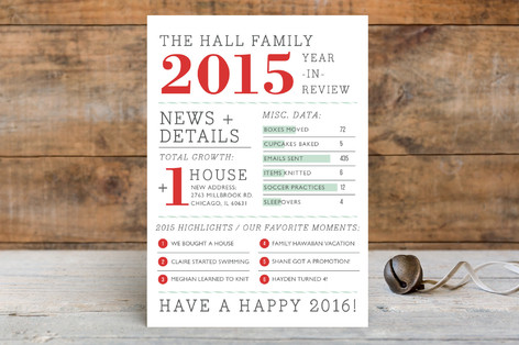 Family Year in Review Holiday Postcards