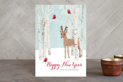 Reindeer in the Snow Holiday Postcards