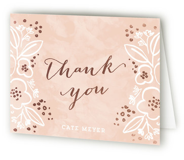 Rosebloom Foil-Pressed Baby Shower Thank You Cards