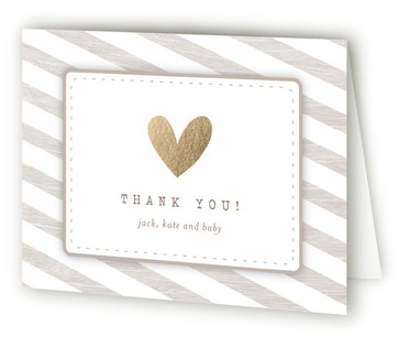 Baby Makes Three Foil-Pressed Baby Shower Thank You Cards