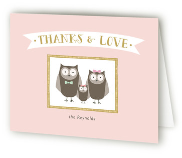 Owl Happy Family Baby Shower Thank You Cards