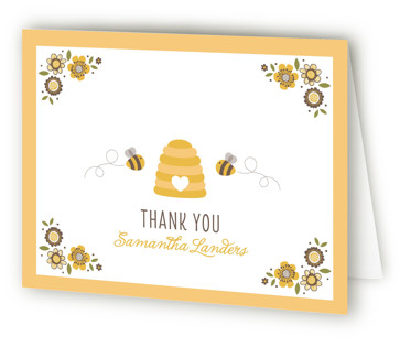 Floral Bee Baby Shower Thank You Cards