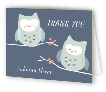 Twin Owl Babies Baby Shower Thank You Cards