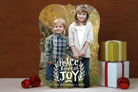Peace Love and Joy Branches Holiday Photo Cards