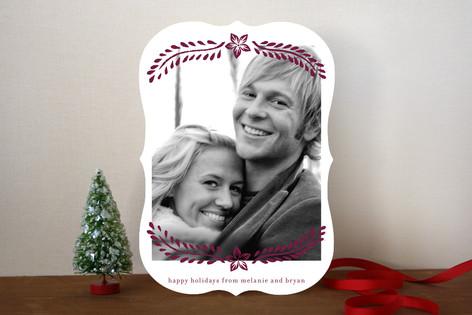 Block Printed Mistletoe Holiday Photo Cards