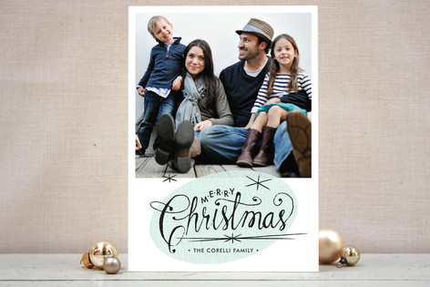 Retro Starbursts Holiday Photo Cards