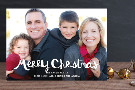 Hand-Lettered Merry Christmas Holiday Photo Cards