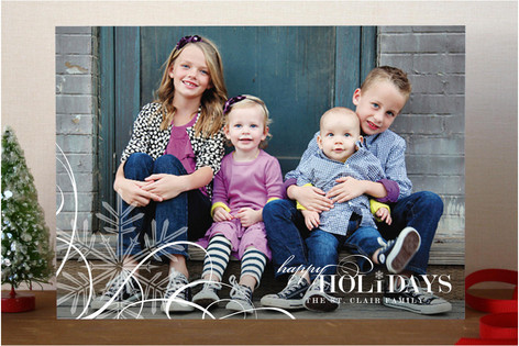 Snowflake Whimsy Holiday Photo Cards