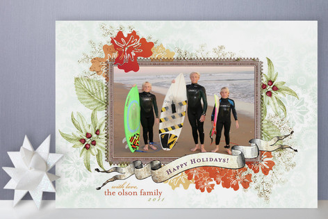 Citrus Snowflake Holiday Photo Cards