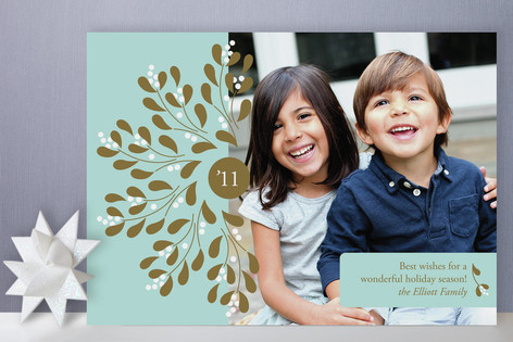 Mistletoe Wreath Holiday Photo Cards
