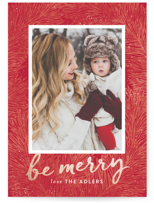 Textured Pine Holiday Photo Cards