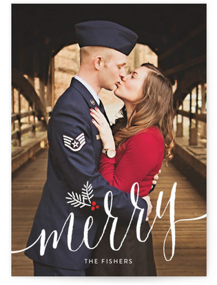 Merry Pine Sprig Holiday Photo Cards