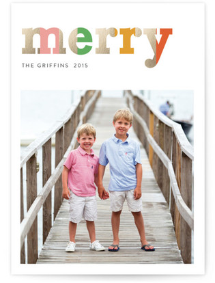 Multi-Colored Merry Holiday Photo Cards