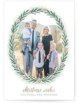 Most Elegant Wreath Holiday Photo Cards