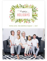 Winter Foliage Frame Holiday Photo Cards