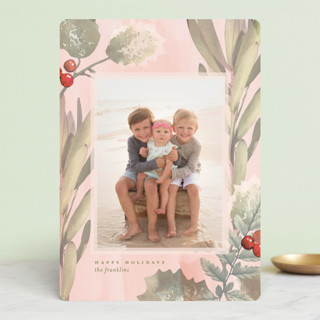 Pastel Holly Holiday Photo Cards
